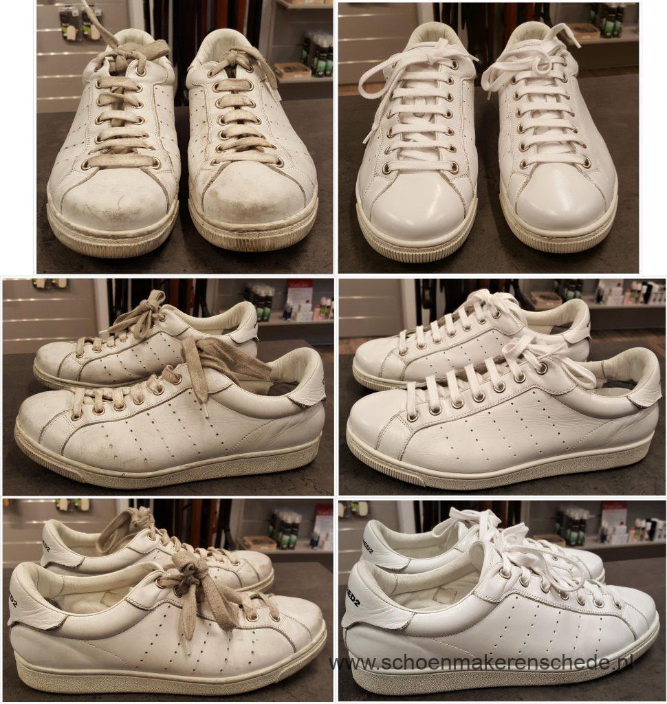 Sneakers wit verven, schoonmaken bij Schoenmaker Enschede