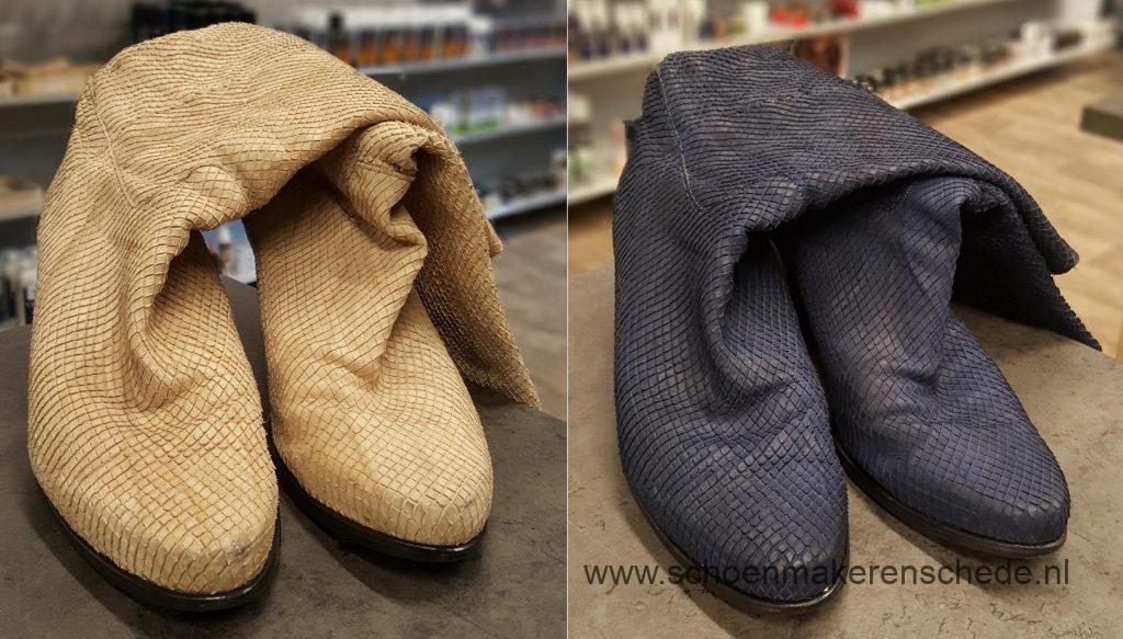 Schoenmaker Enschede - Laarzen van beige naar blauw verven